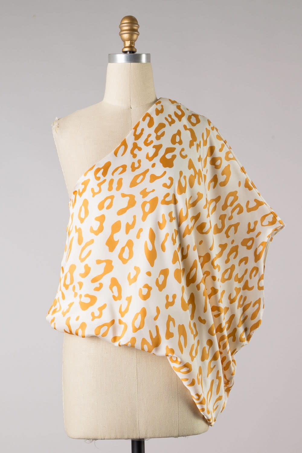 One Shoulder Animal Print Woven Top in Gold