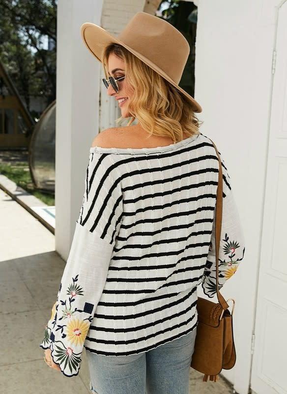 Stripe & Floral Bell Sleeve Round Top in Black