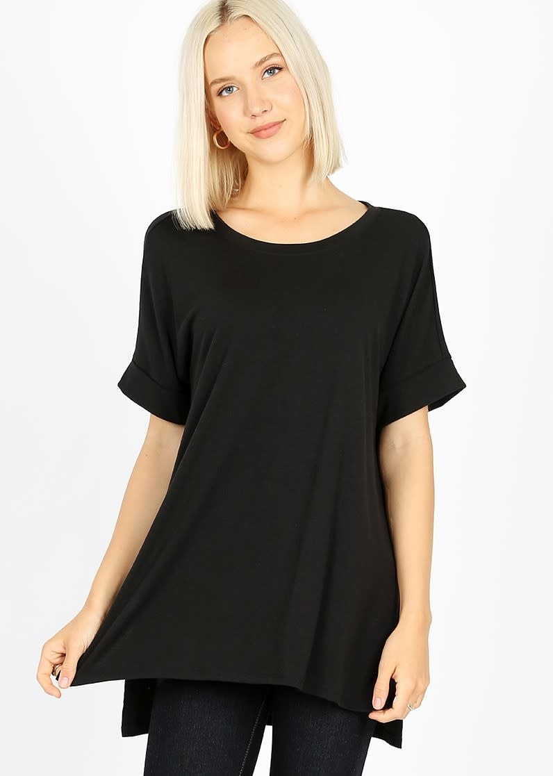 Rolled Short Sleeve Round Neck Top w/ Side Slits in Black