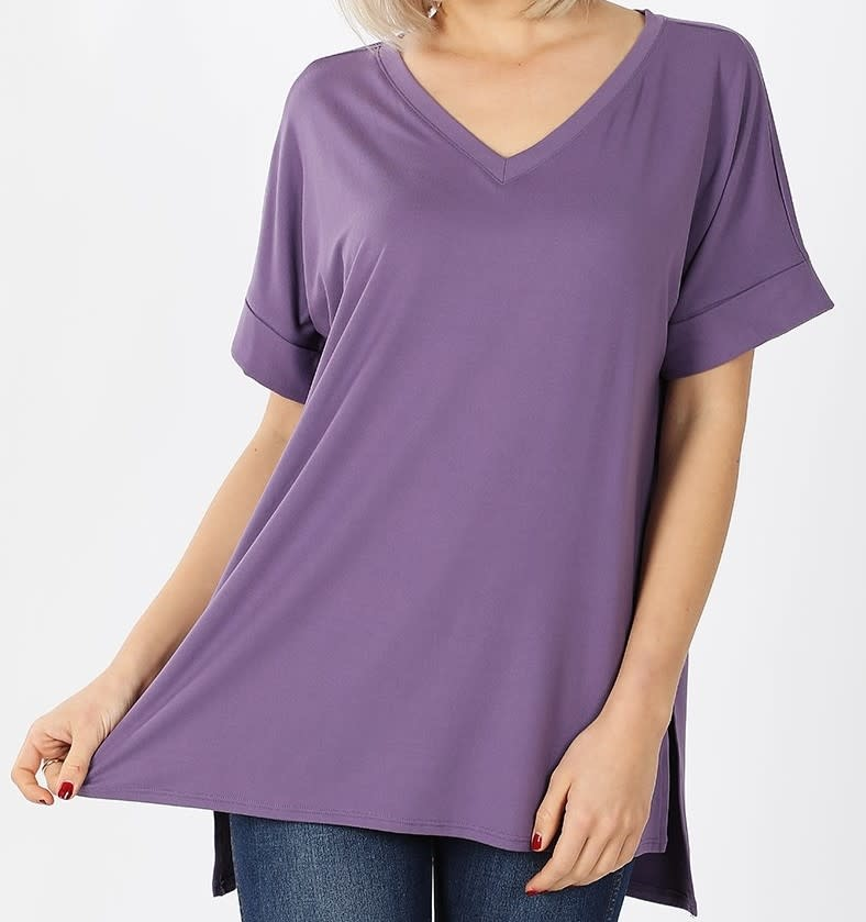 PLUS Rolled Short Sleeve V Neck Top in Lilac Grey