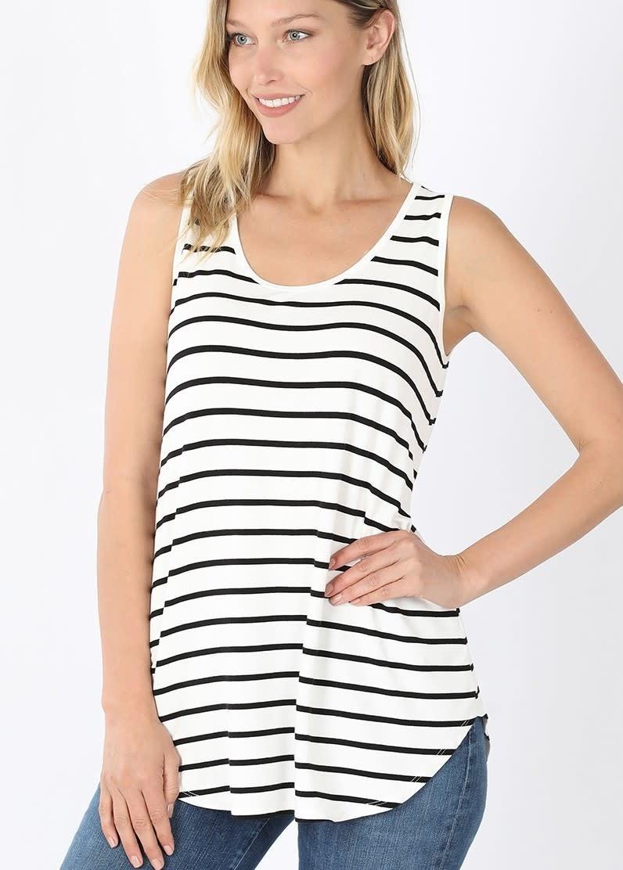 Stripe Sleeveless Top in Ivory/Black