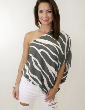 One Shoulder Floral Woven Top in Metal