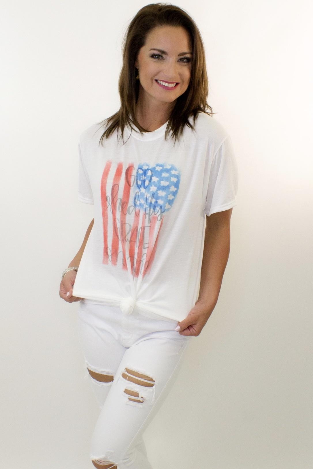 USA Flag White Graphic Tee