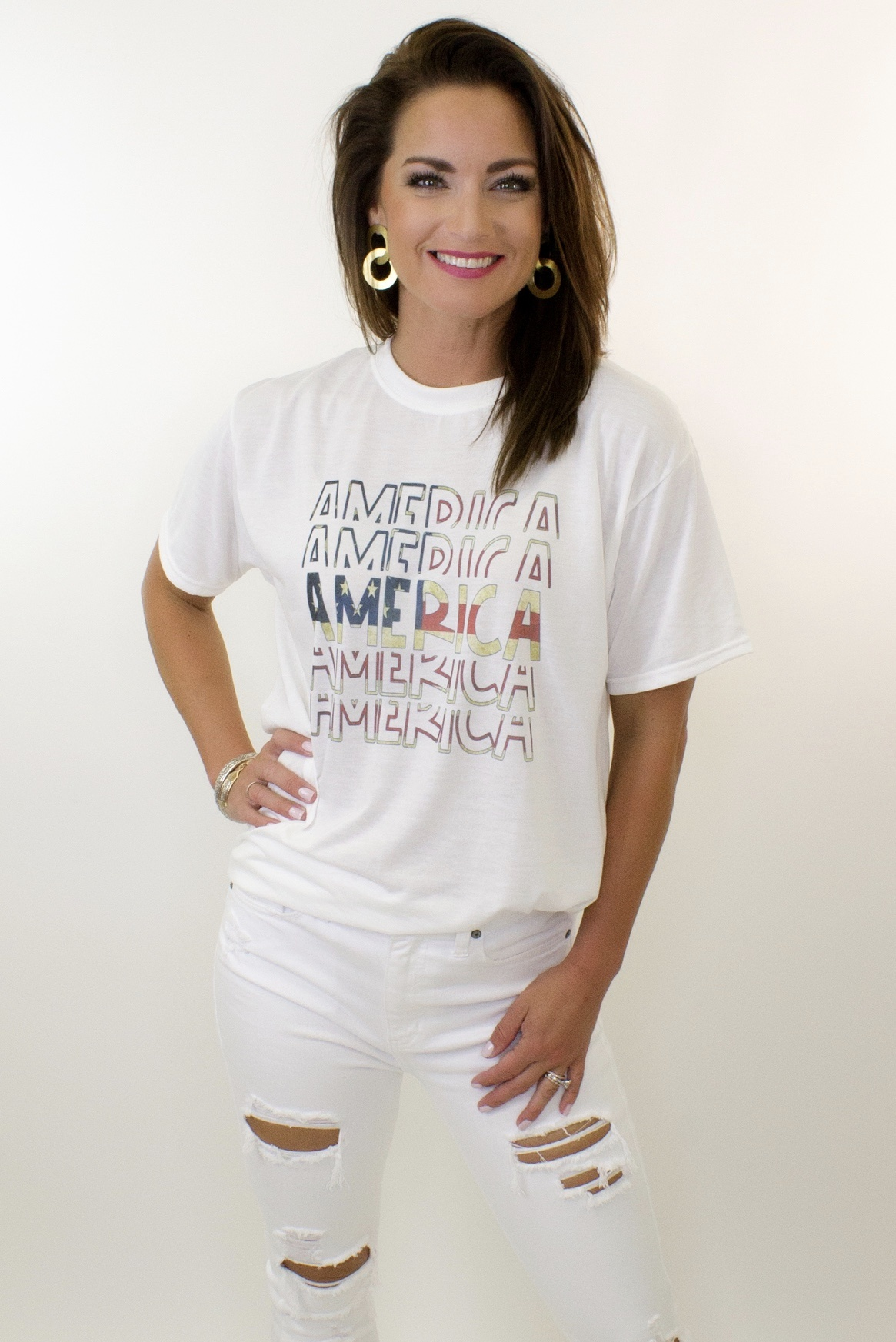 America Stack White Graphic Tee