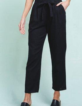 High Waist Self Tie Linen Pants