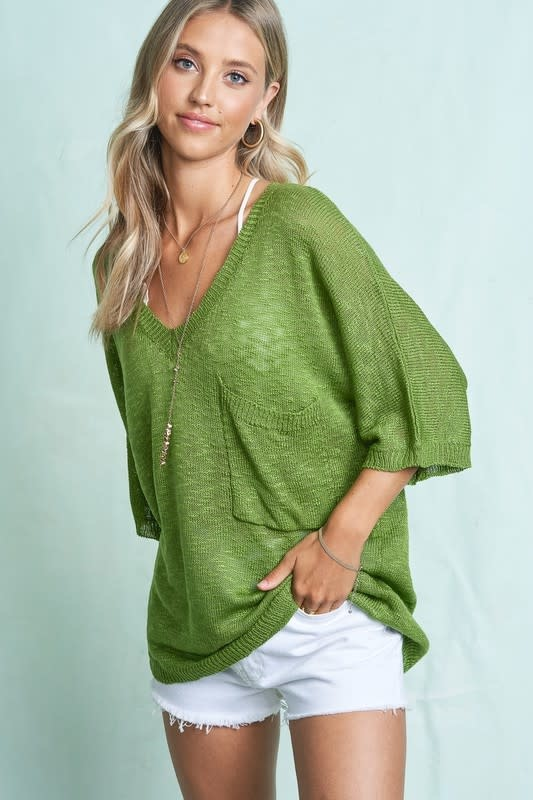 V Neck Loose Fit Sweater Top
