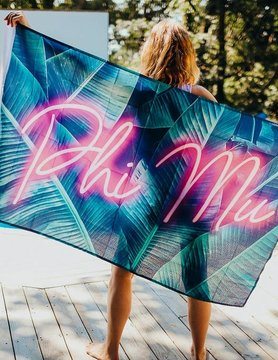 Neon Palm PHI MU Flag