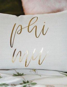 Sorority Burlap & Gold Print Pillow