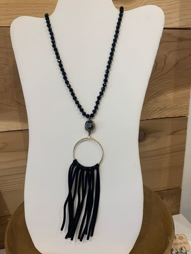 Black Knotted Crystal Necklace w/ Bronze/Black Connector & Fringe Pendant