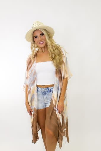 Watercolor Airy Kimono w/ Side Slits in Sunset ONE SIZE