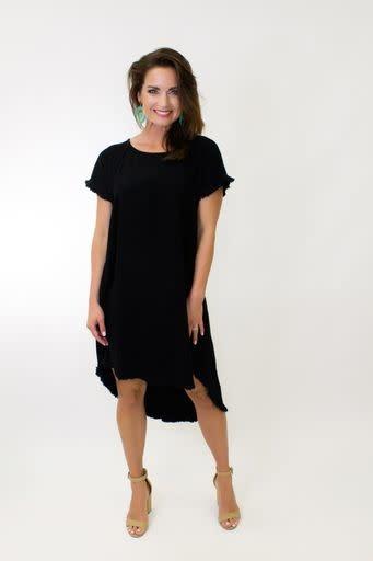 Curvy Linen Ruffle Hem Dress