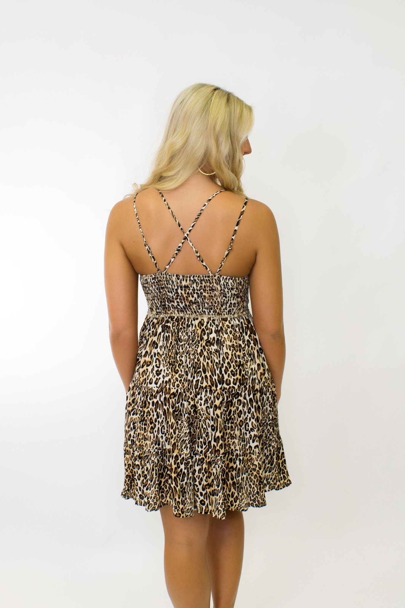 Flower Crochet Leopard Print Slip Dress