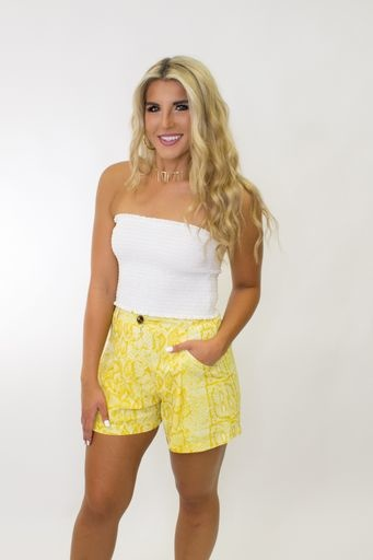 Snake Print High Waisted Pocket Shorts in Yellow