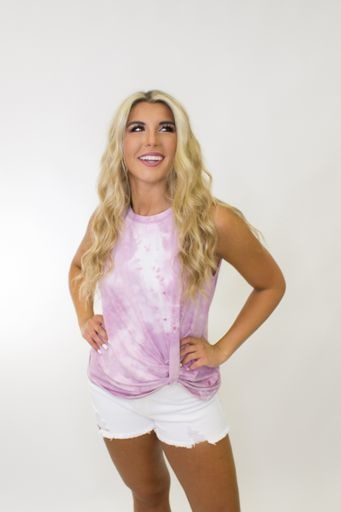 Sleeveless Tie Dye Knit Top w/ Side Twist Detail in Pink