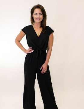 SS Woven Jumpsuit w/ Front Tie Detail & Back Button Closure