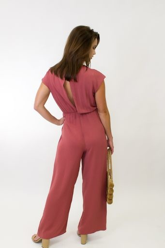 SS Woven Jumpsuit w/ Front Tie Detail & Back Button Closure