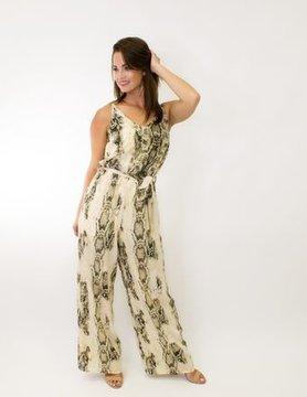 Sleeveless Snake Skin Woven Jumpsuit in Cream