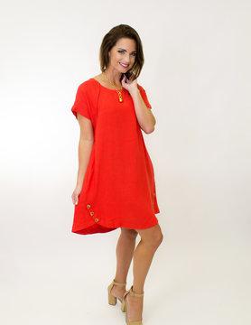 Linen Short Sleeve Dress w/ Button Detail- Chilli, Oat, Sage
