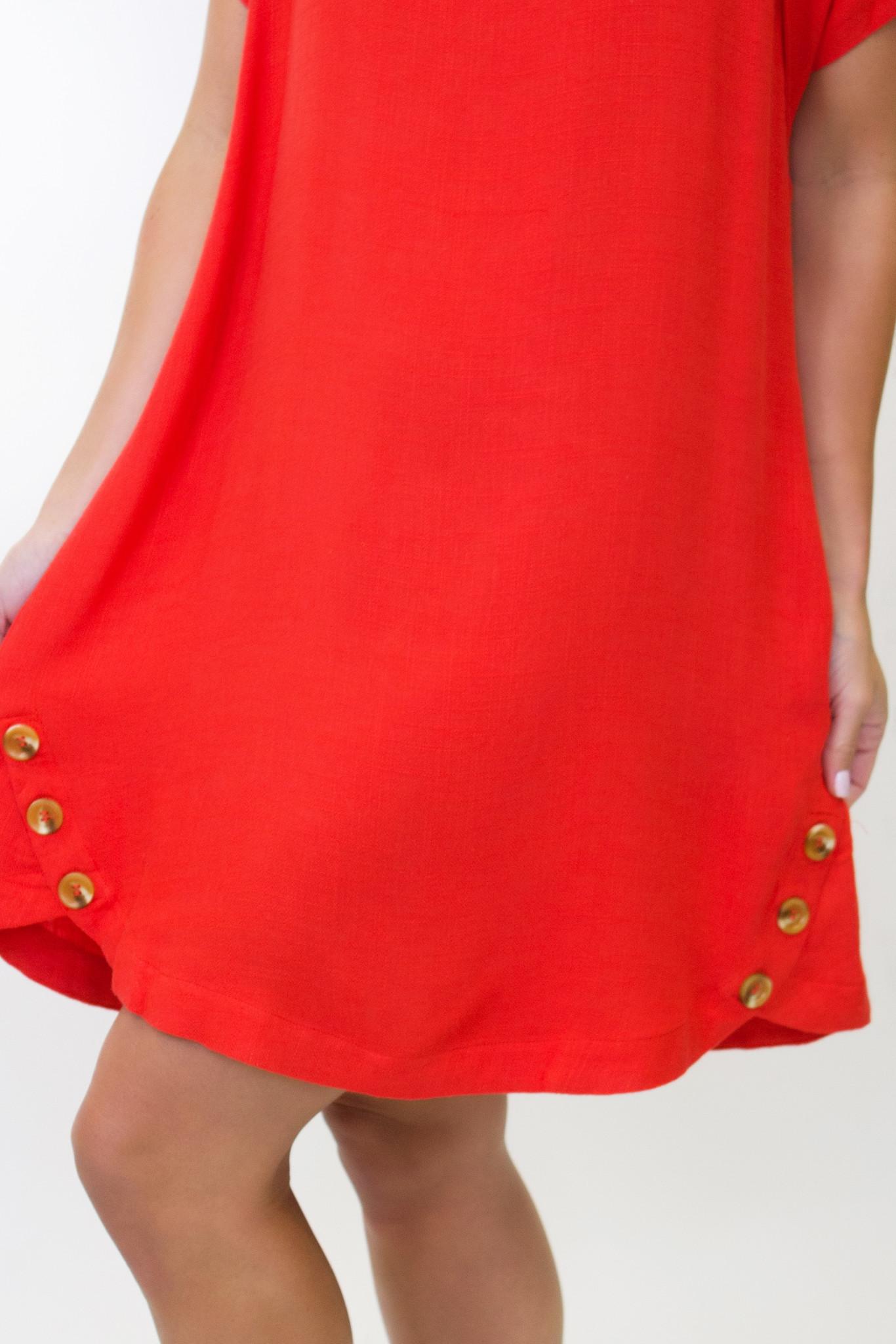 Linen Short Sleeve Dress w/ Button Detail