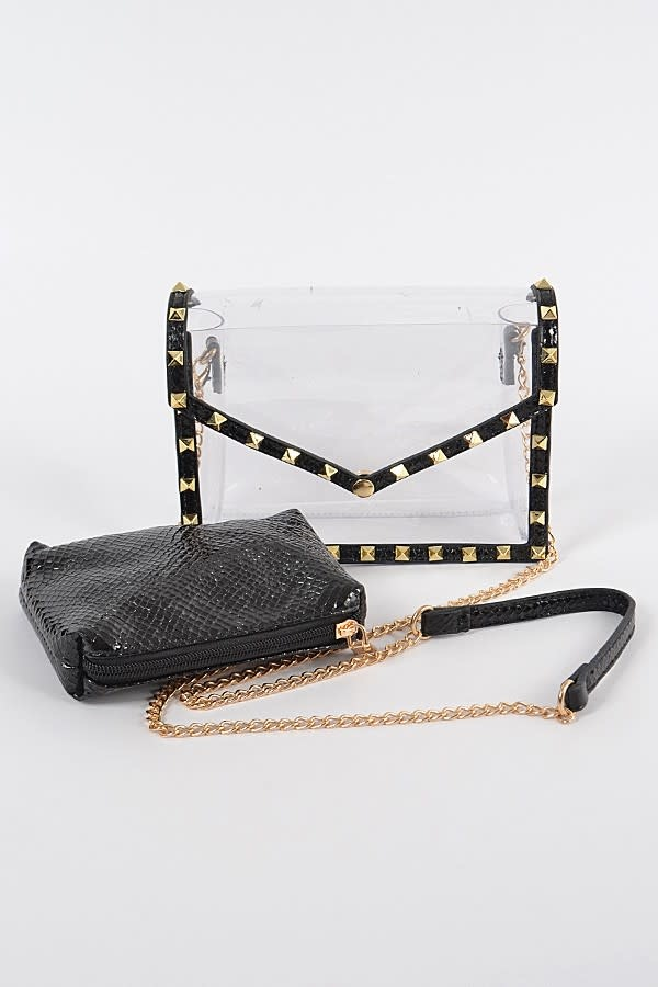 Killing It Clear Black Studded Crossbody