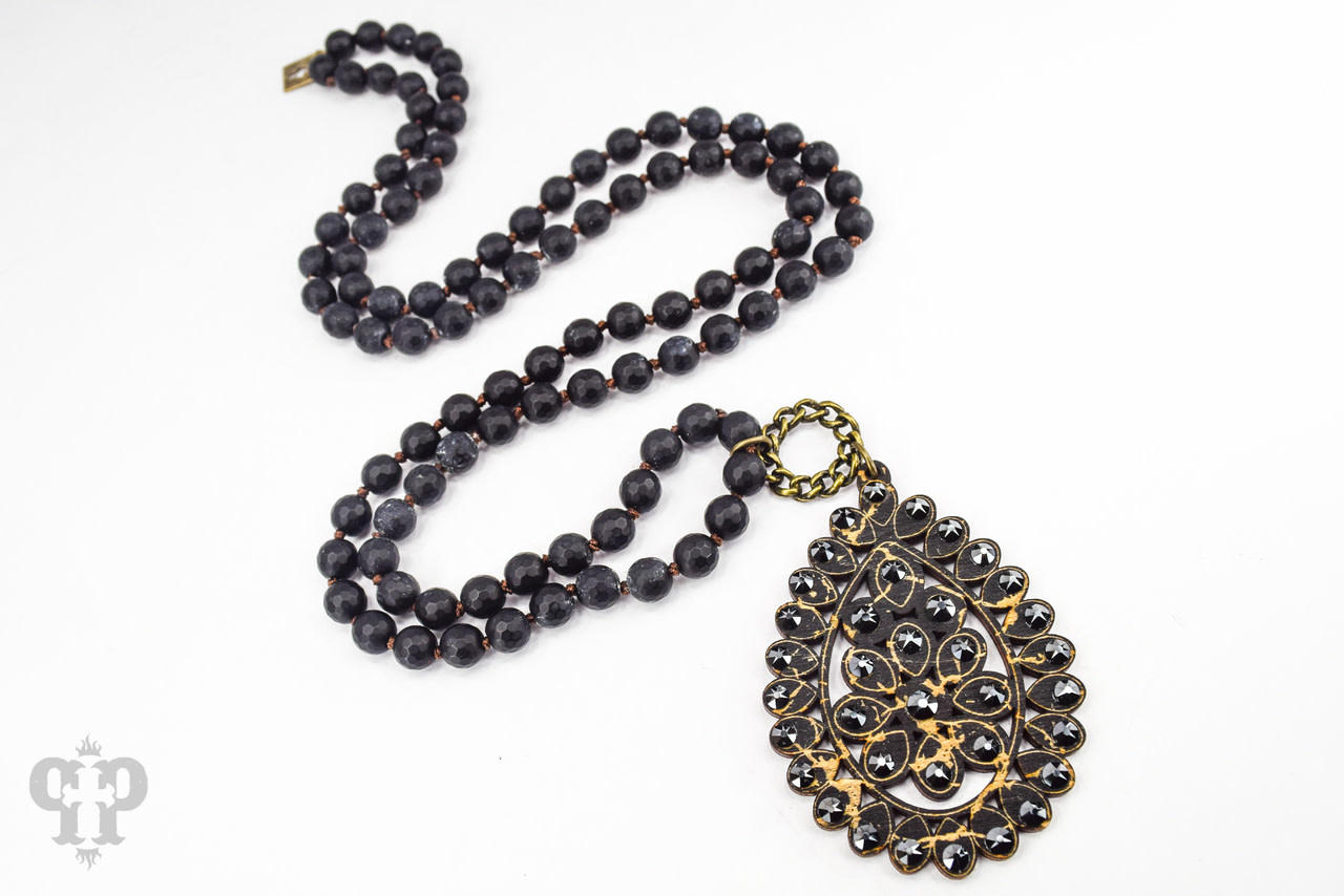 Pink Panache Black Crackle Knotted Bead Necklace