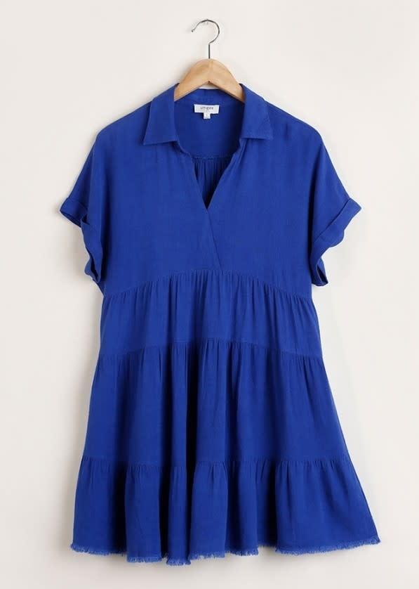 Short Folded Sleeve V Neck Collared Dress  Cobalt SMALL