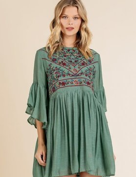 Olive Embroidered Dress