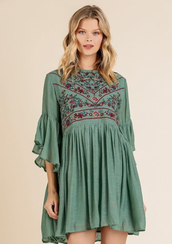 3/4 Bell Sleeve Keyhole Dress w/ Floral Embroidered Yoke