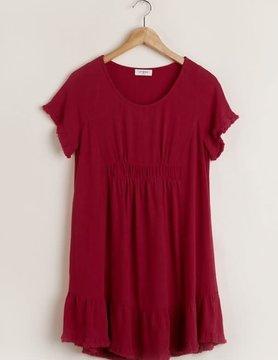 Short Sleeve Linen Dress With Ruffle Trim