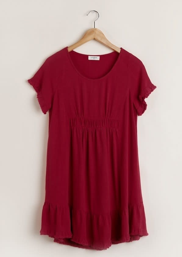 Short Sleeve Linen Dress With Ruffle Trim