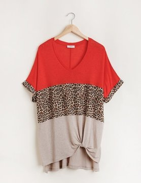 Short Sleeve Animal Print Colorblocked V Neck Top in Paprika Mix