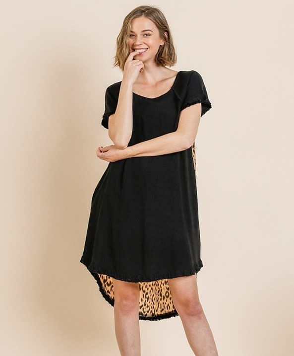 Check Yes Leopard & Black Linen Dress