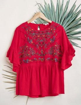 3/4 Ruffled Sleeve Keyhole Top w/ Floral Embroidered Yoke