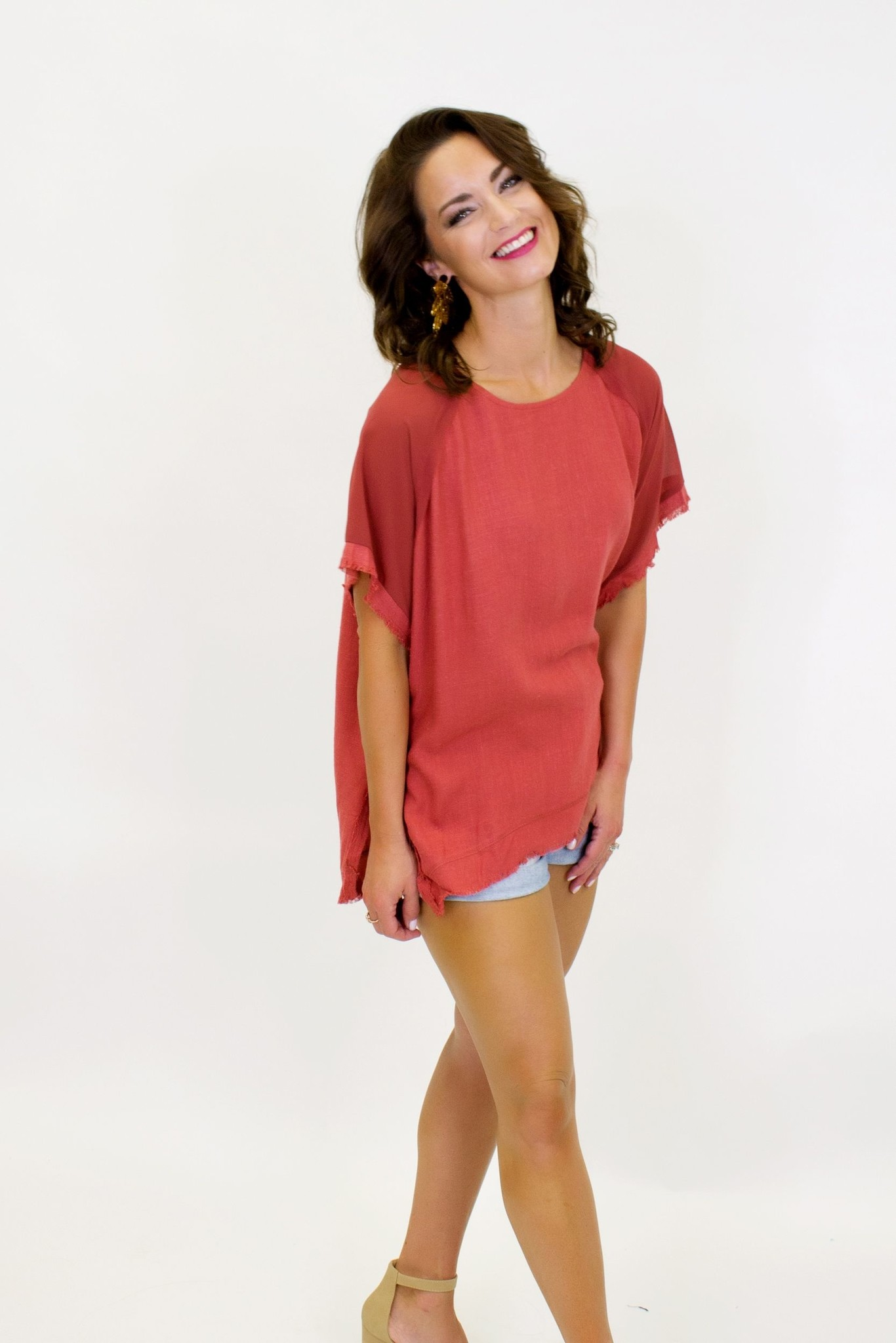 Your Only Thing Linen Top - Blue & Rust
