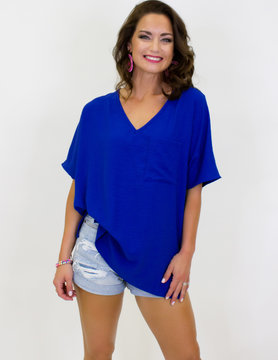 Woven V Neck Hi Low Boxy Top w/ Front Pocket