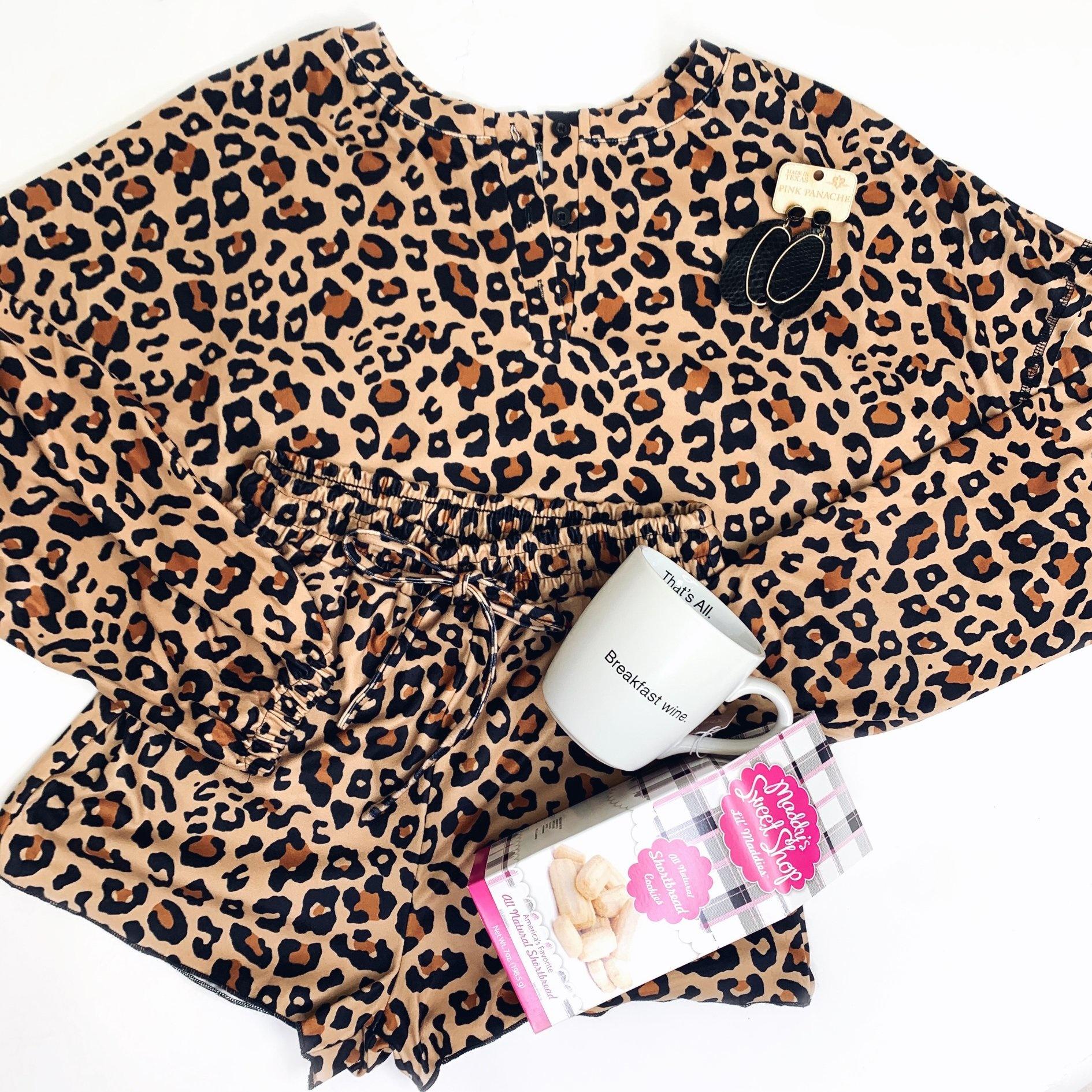 Leopard Tie Die Knit Pj 2 Piece Set