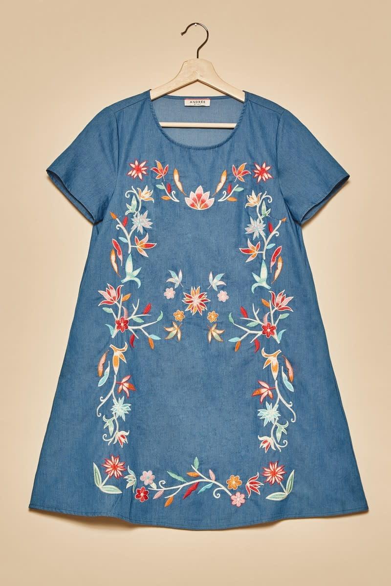 Thinking Ahead Embroidered Denim Dress