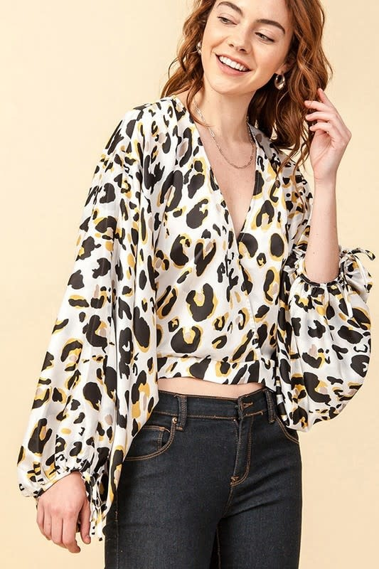 Sophisticated Sparkle Leopard Cropped Blouse- Brown & Silver