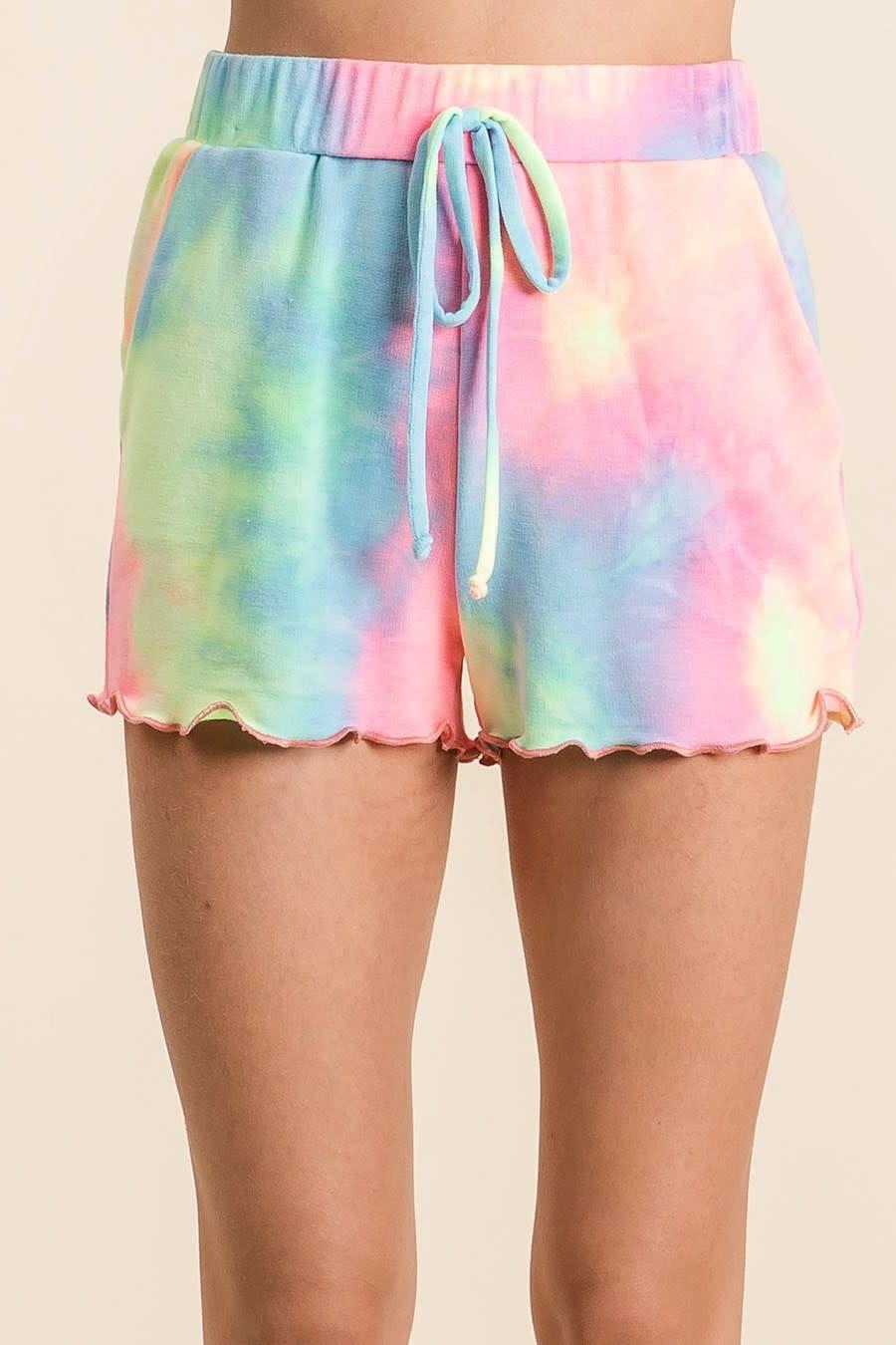 ruffled tie dye shorts