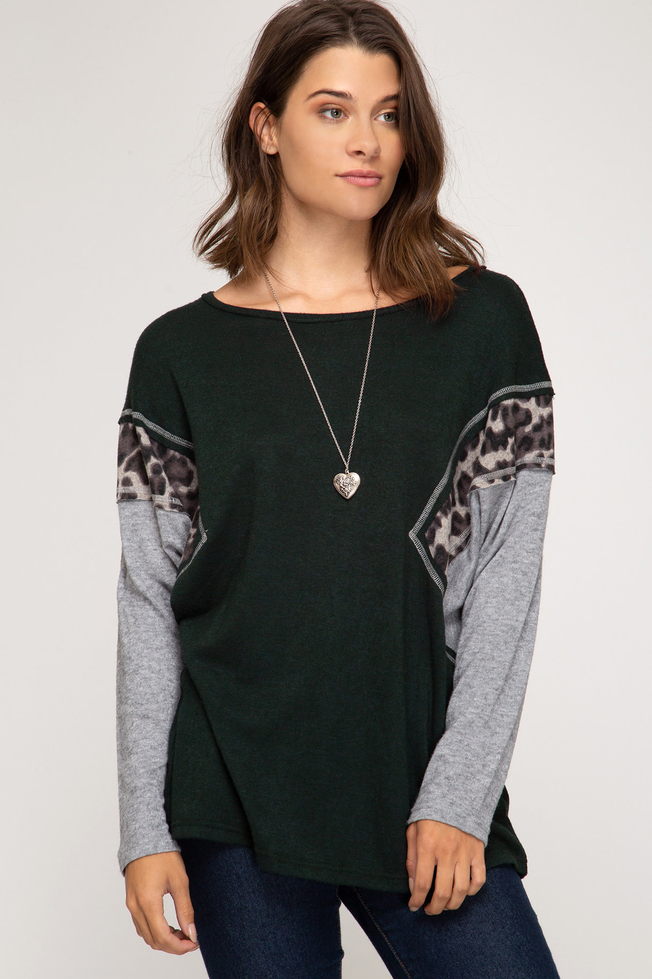 Ease Your Mind Leopard Color Block Top