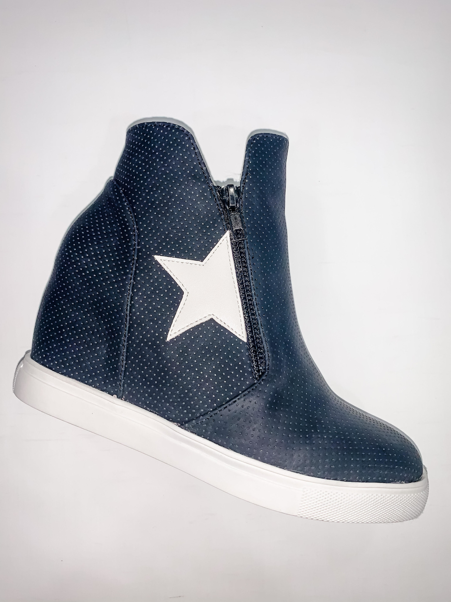 Black Star High Top Side Zip Sneaker