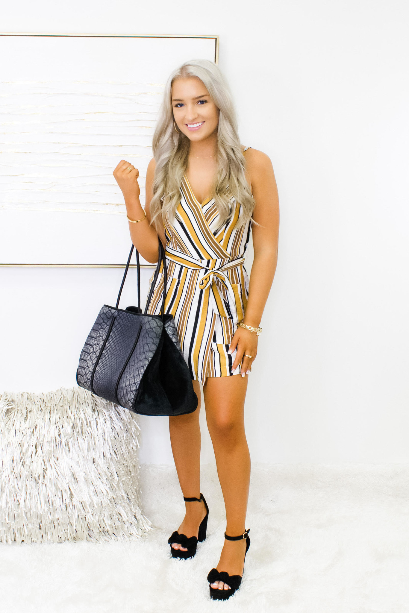 Right About It Stripe Romper- Mustard