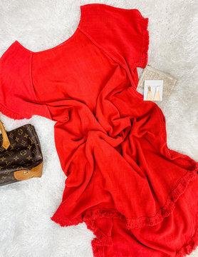 Weekend Spree Linen Hi-Lo Dress