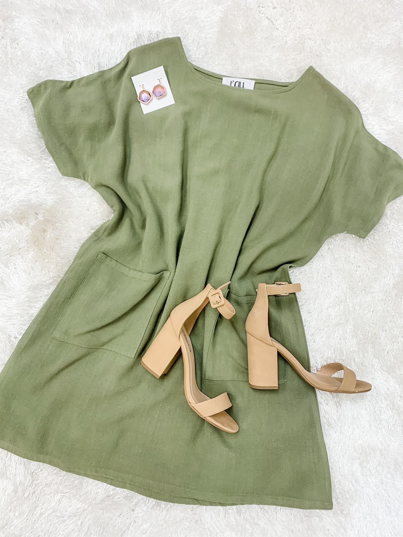 Cooler Colors Pocket T-Shirt Dress- Olive