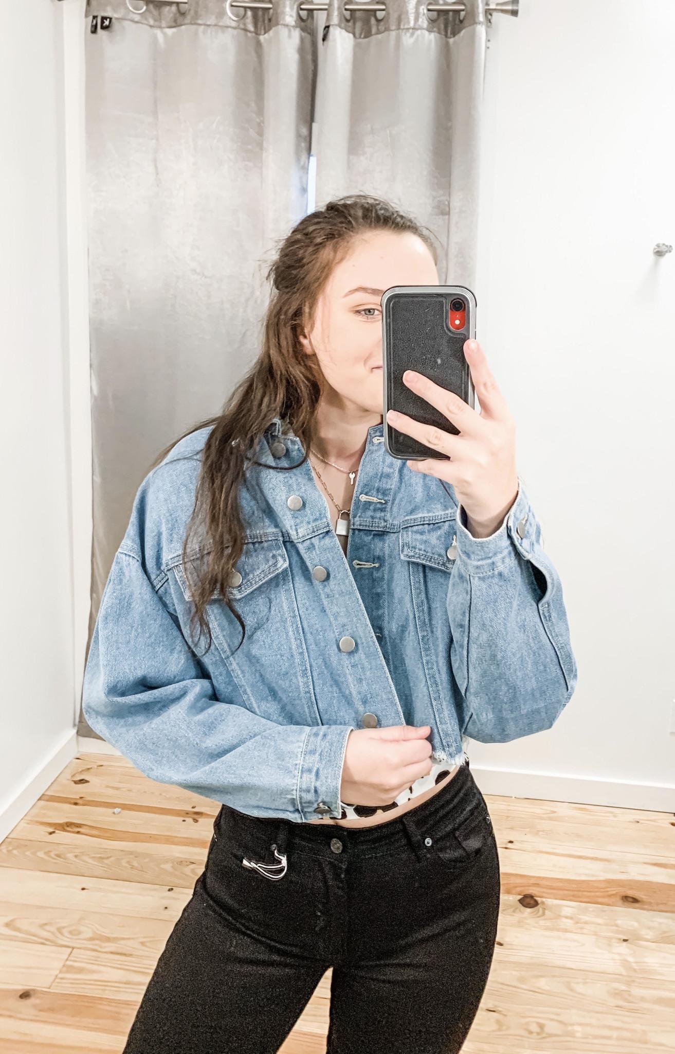 Get On My Level Cropped Denim Jacket