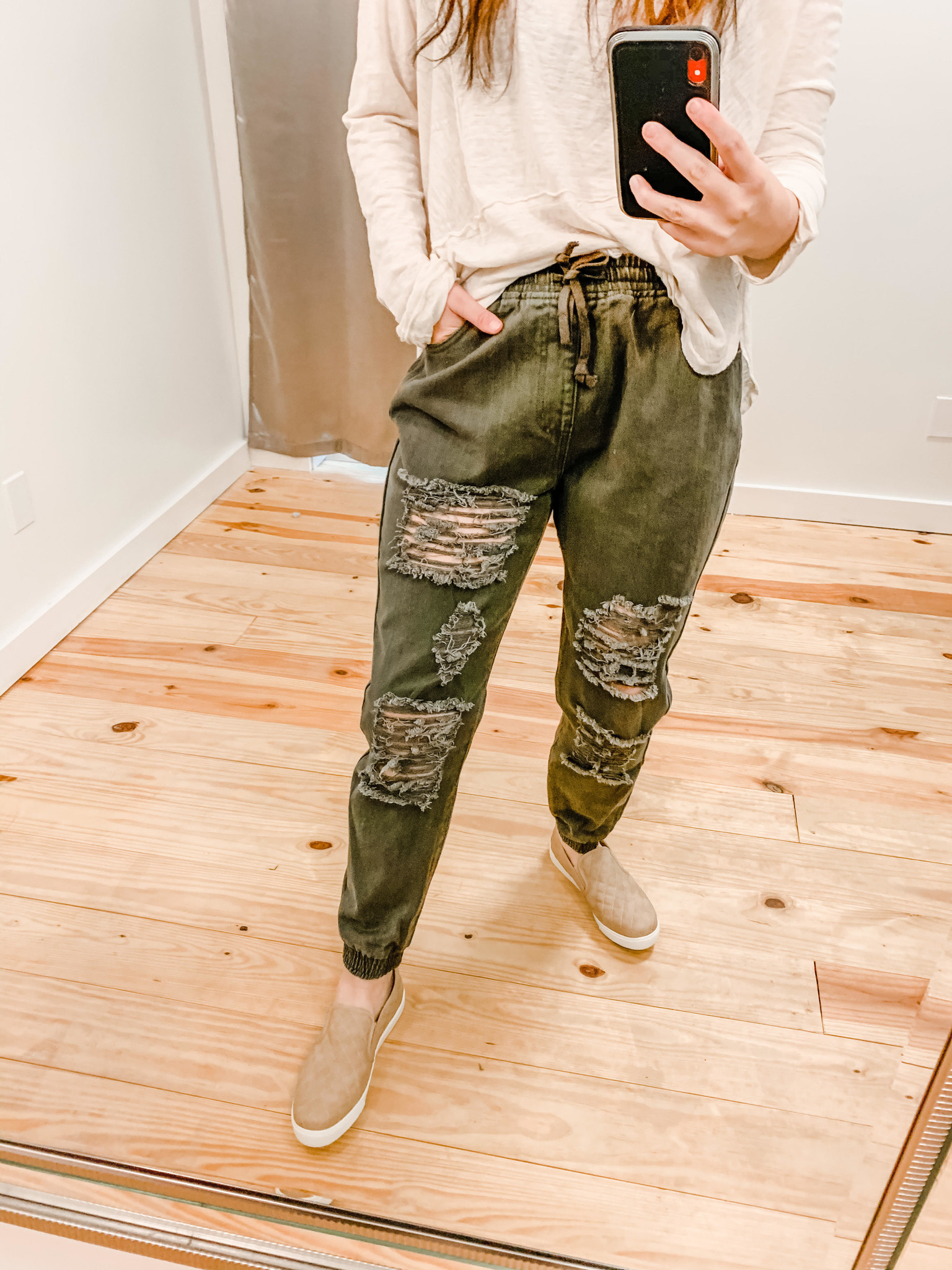 Distressed Olive Joggers