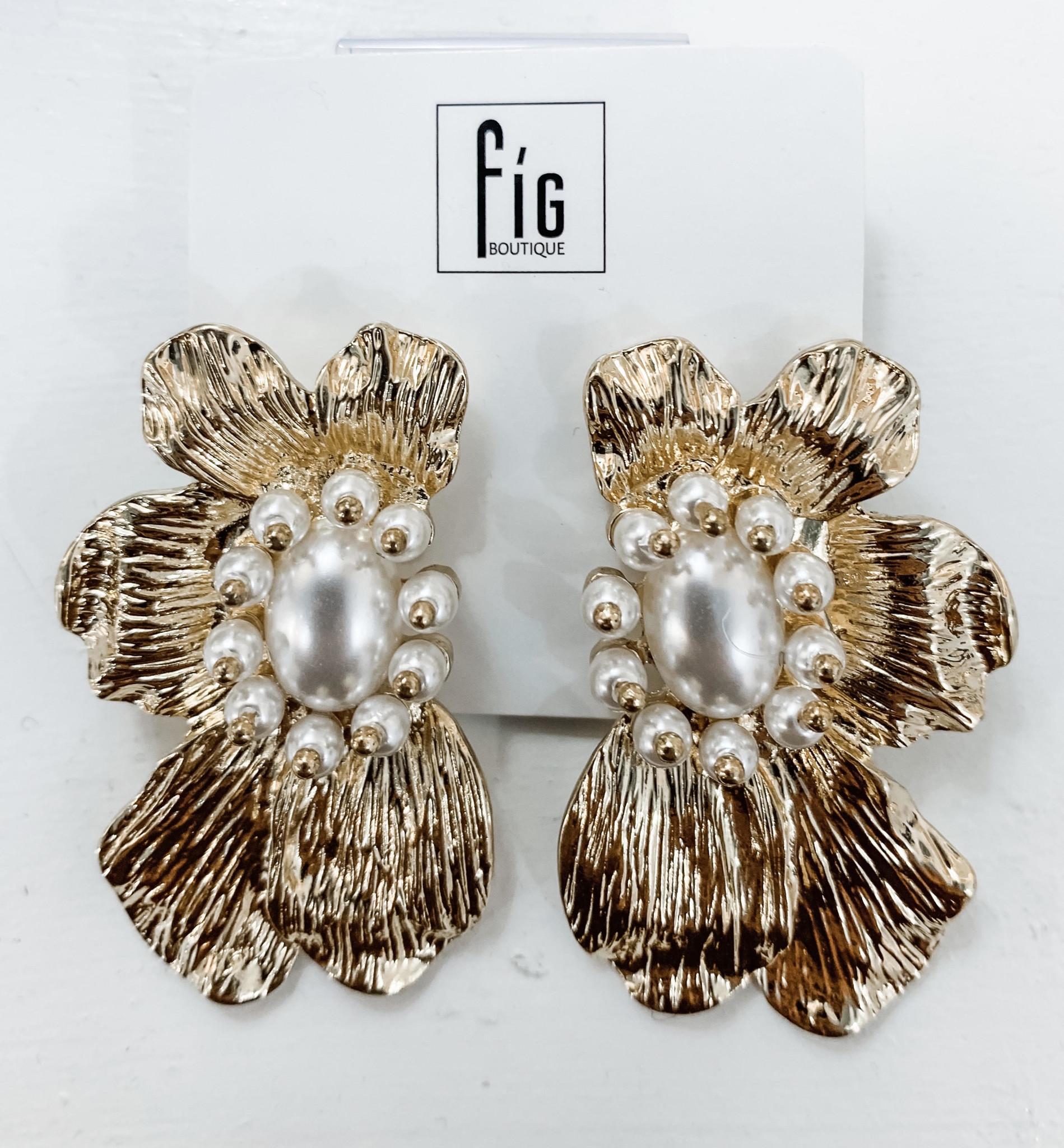 Metal Flower Earrings With Pearl
