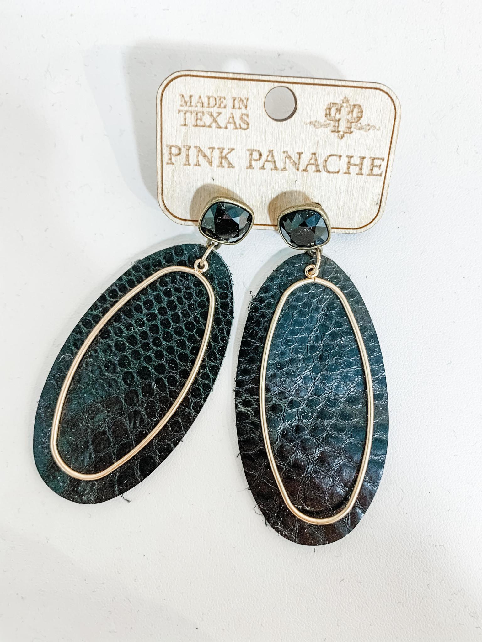 Black Snakeskin Leather Earrings