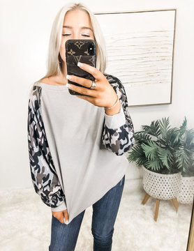 Just Own It Camo Dolman Top
