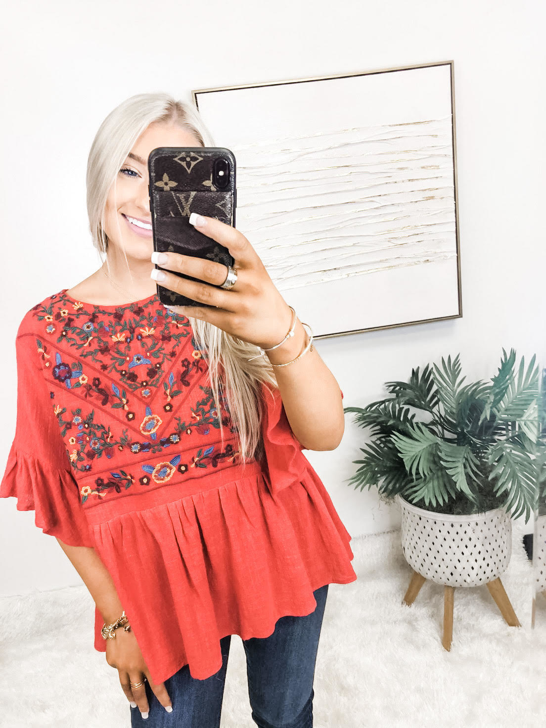 Book Smart Embroidered Top